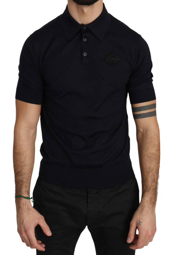 Blue Cashmere Crown Logo Polo T-shirt