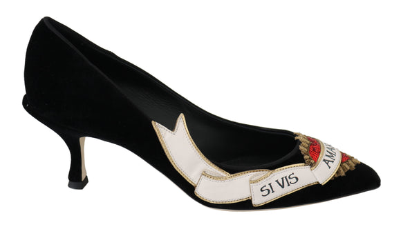 Black Velvet Leather Red Heart Heels Shoes