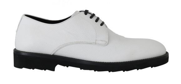 White Leather Derby Dress Formal Shoes