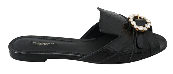 Black Ayers Leather Flats Slides Shoes