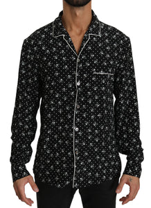 Black Skull Print Silk Sleepwear Shirt