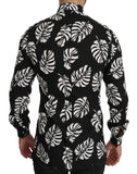 Black Palm Leaves Cotton Top GOLD Shirt