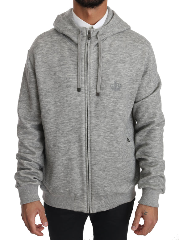 Gray Cashmere Crown Logo Hooded Sweater