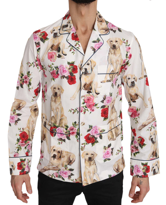 White Labrador Roses Cotton  Shirt