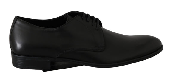 Black Leather Derby Dress Shoes