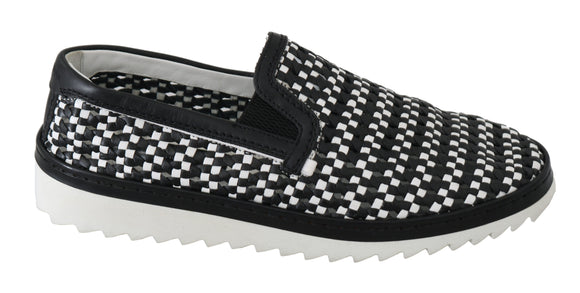 Black White Woven Leather Loafers Shoes