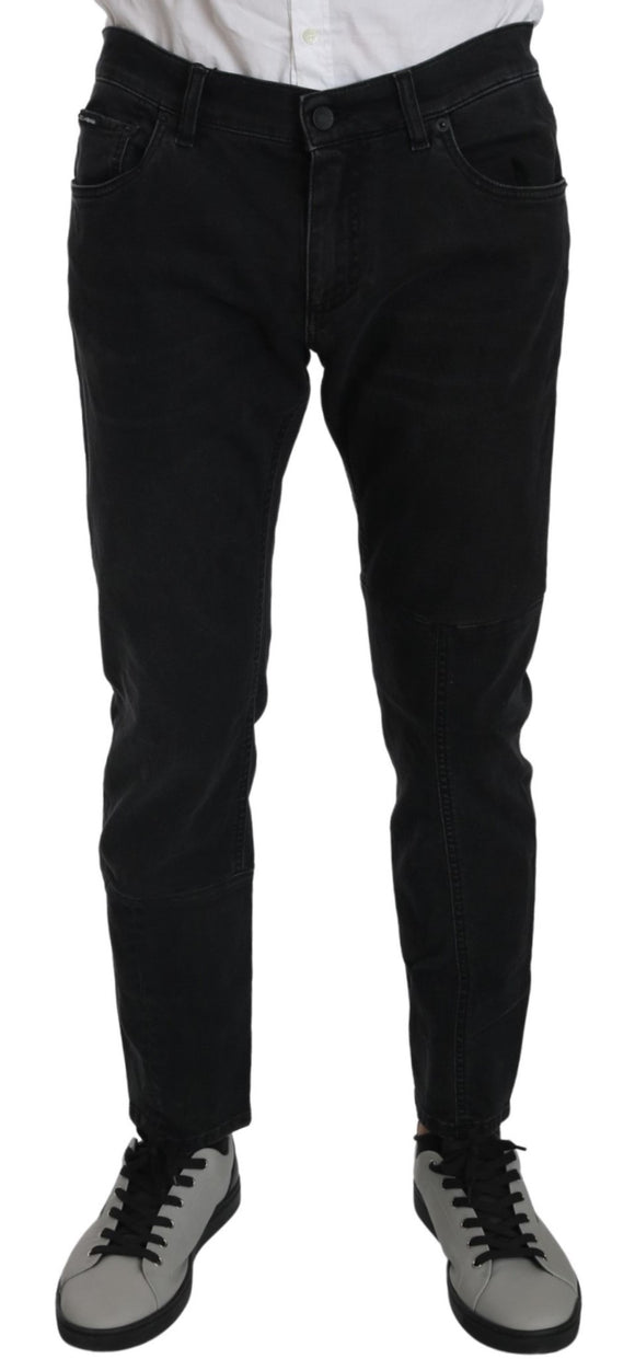 Black Cotton Stretch Skinny Slim Fit GOLD  Jeans