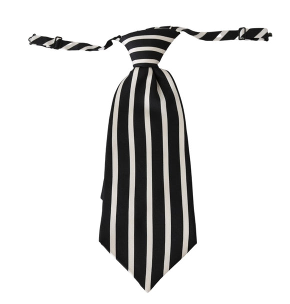 Black White Stripe Mens Necktie 100% Silk Tie