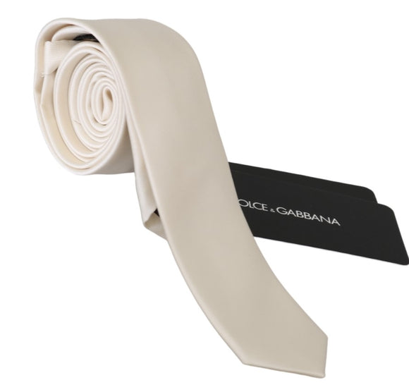 White Solid Slim Mens Necktie Accessory 100% Silk Tie