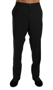 Black Wool Stretch Formal Trousers