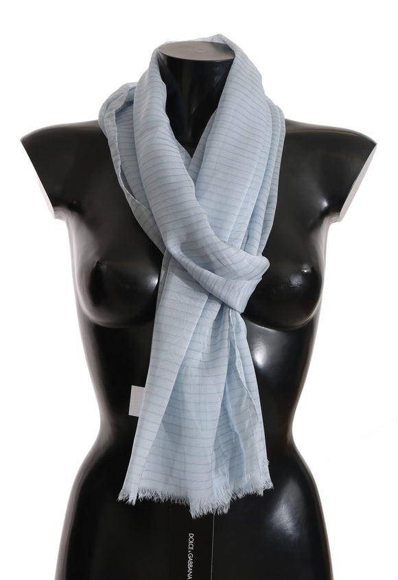 Blue Striped Print 100% Silk Shawl Wrap 200x60cm  Scarf