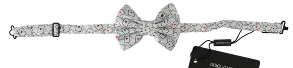 Men White Deck Of Cards Adjustable Neck Butterfly Bow Tie
