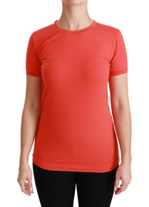 Red Crewneck Short Sleeve T-shirt Cotton Top