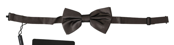 Gray 100% Silk Adjustable Neck Butterfly Men Bow Tie