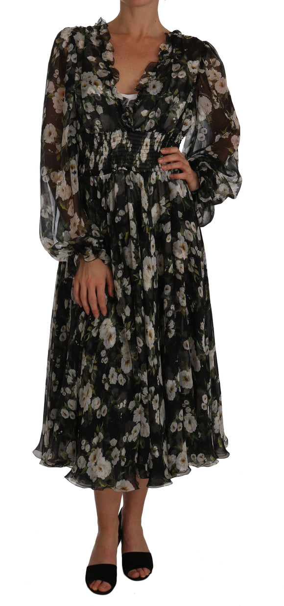 Black Daisy Floral Silk Shift A-Line Dress