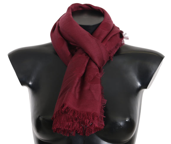 Bordeaux Necktie Wrap Shawl Silk Wool 140cmX140cm Solid