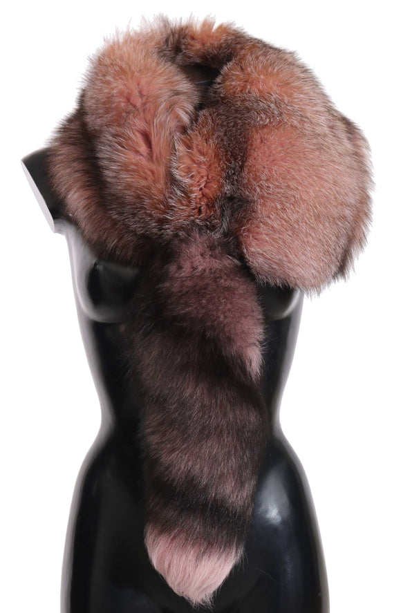 Pink Fox Tail Fur Shawl Neck Wrap Cover Pink White Collar Scarf