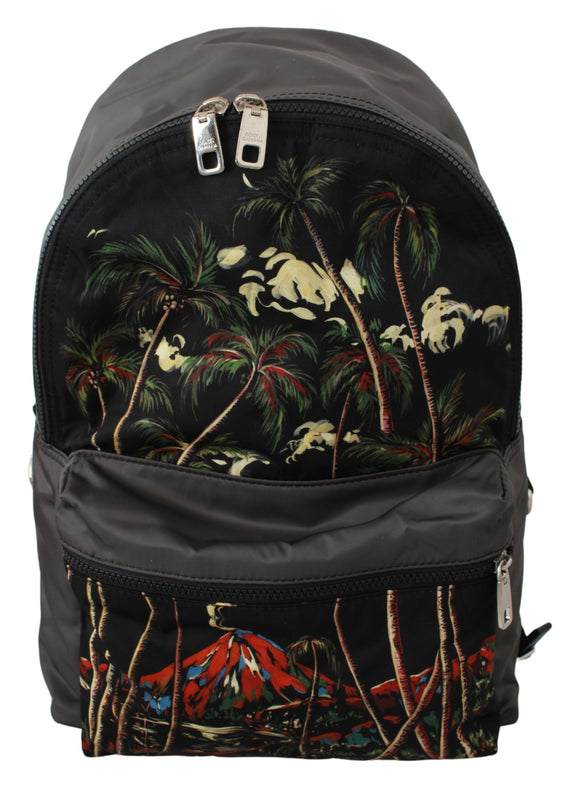 Black Trees Volcano Print School Backpack Nylon Bag