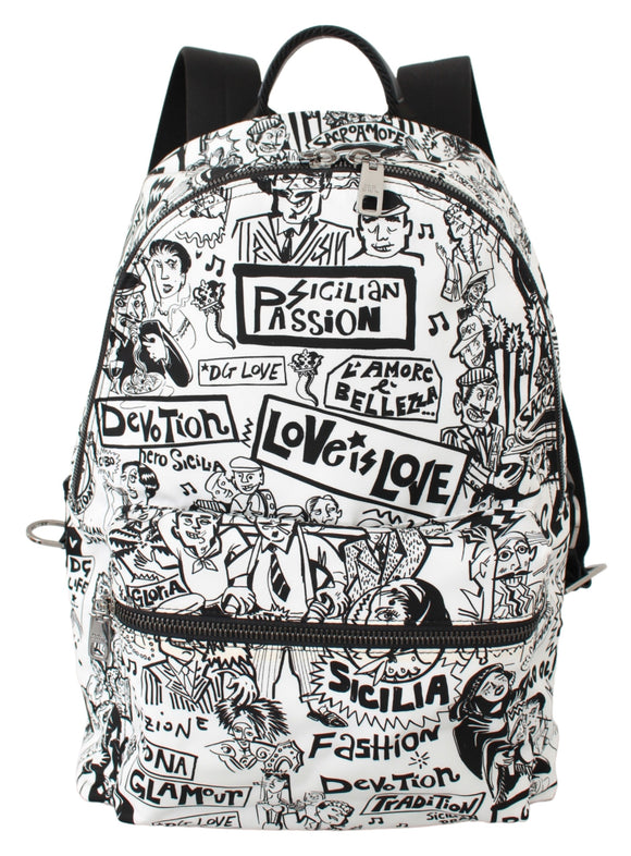 White Sicilian Passion Print Men Nylon Bag