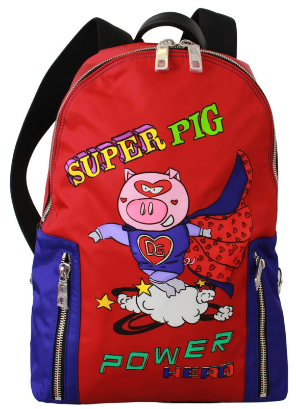 Nylon Multicolor Super Pig Print Men School Bag