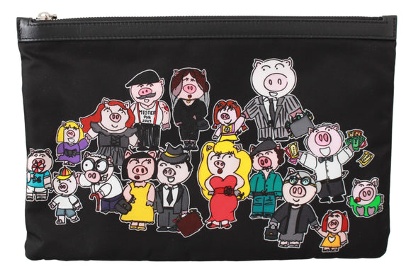 Black Family Pig Men Hand Pouch Toiletry Bag