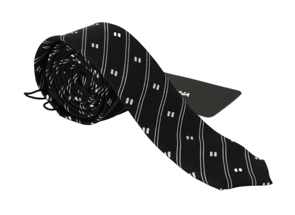 Black Striped Slim Classic Necktie 100% Silk Tie