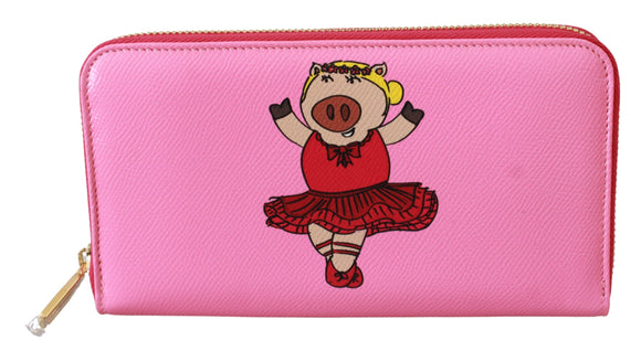 Pink Year Of The Pig Continental Clutch Leather Wallet