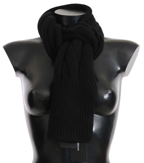 Black Cashmere Cable Knitted Shawl Wrap 180cm x 24cm Scarf