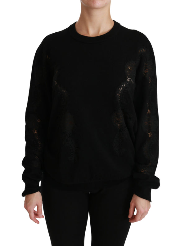 Black Cashmere Floral Lace Cutout Sweater