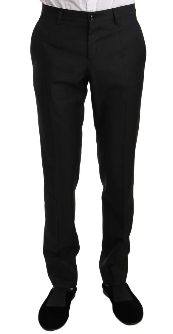 Black Wool Silk Slim Fit Dress Formal Pants