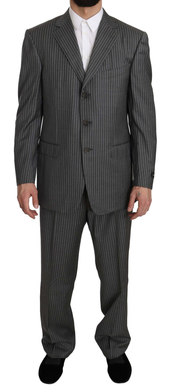 Wool Gray Striped 2 Piece Suit