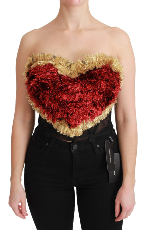 Red Gold Heart Bustier Corset Blouse Top