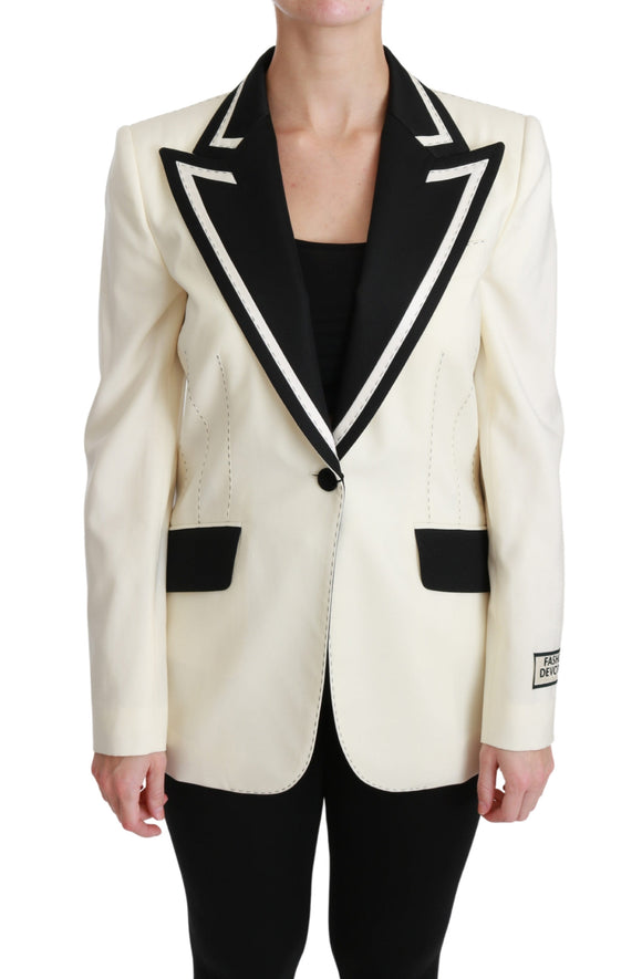 White Black Silk Slim Fit Blazer Jacket