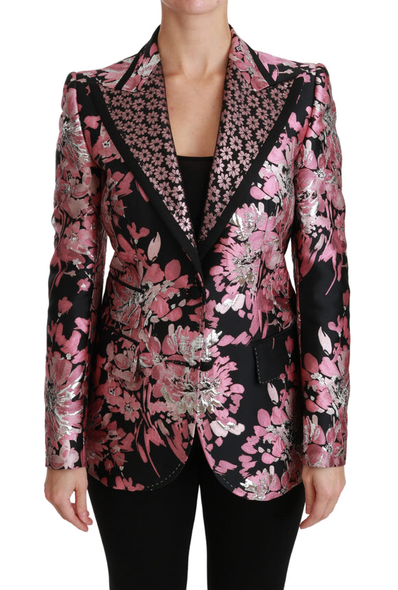 Black Pink Jacquard Slim Fit Blazer
