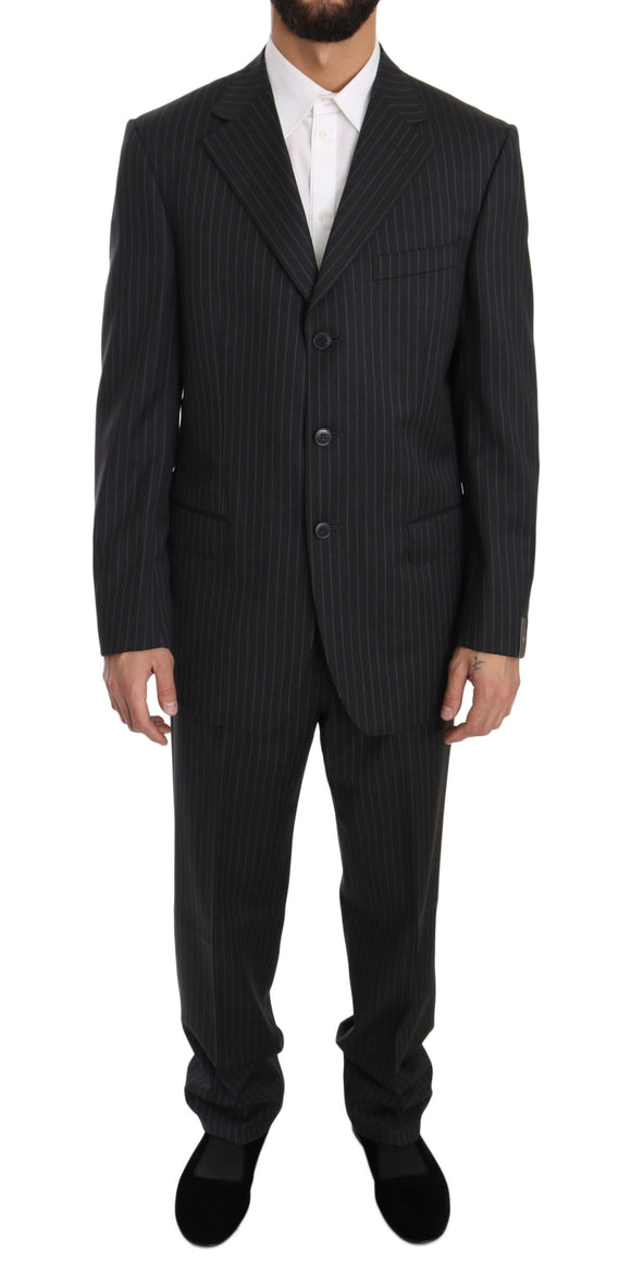 Gray Striped Two Piece 3 Button Wool Suit