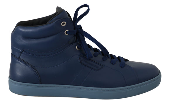 Blue Leather Mens High Top Sneakers Shoes