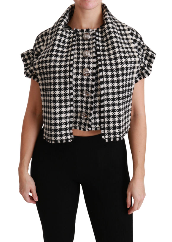 Black White Checkered Cropped Blouse Wool Top