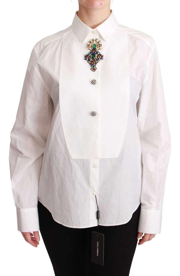 White Collared Crystals Cross Cotton Top