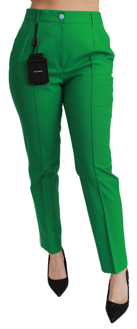 Green Cotton Stretch Trousers Pants