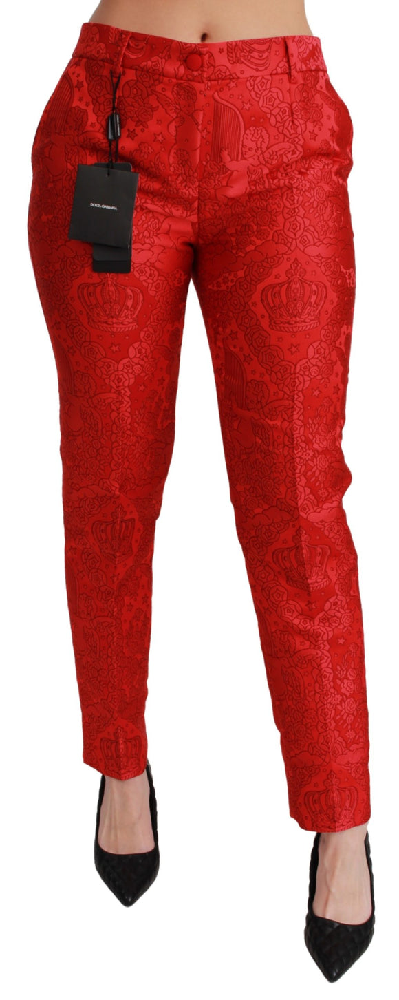 Red Jacquard Crown Dress Slim Pants