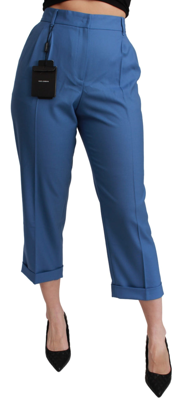 BLue Pleated Wool Cuffed Cropped Trouser Pants
