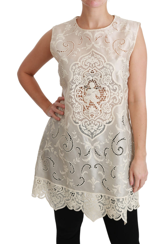 Beige Lace Cutout Blouse Tank Silk Top