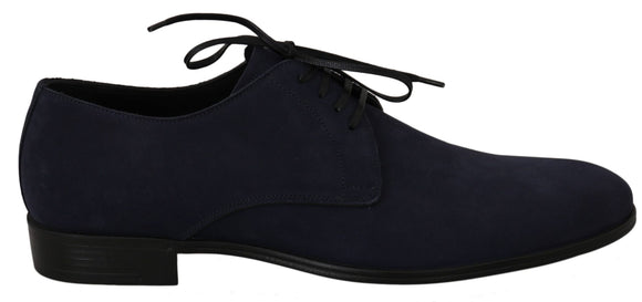 Blue Suede Leather Dress Derby Formal Shoes