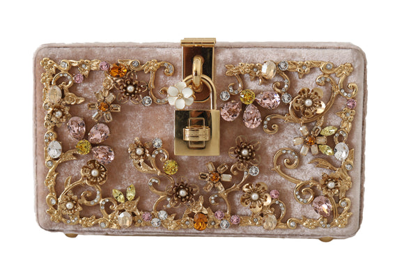 Pink Velvet Gold Baroque Crystal Clutch Purse