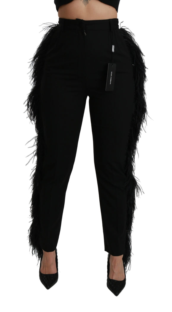 Black Feather Straight High Waist Wool Pants