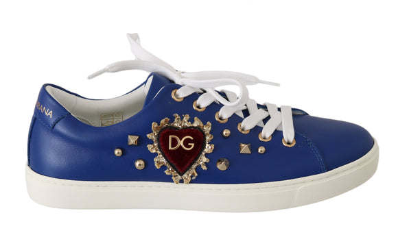 Blue Leather Gold Red Heart  Shoes Sneakers