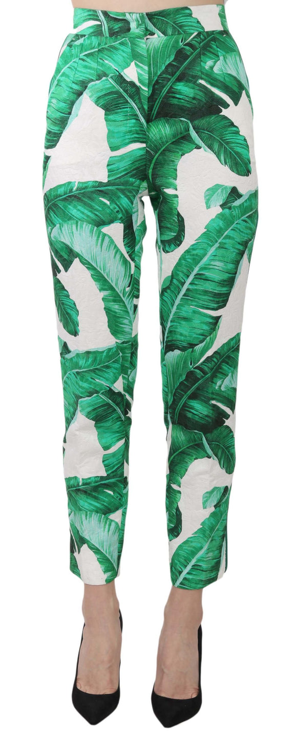 Banana Leaf Print Jaquard Trouser Slim Pants