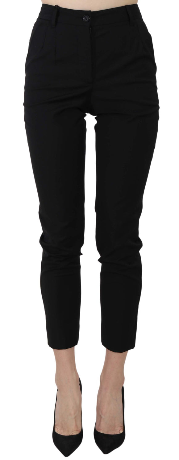 Black Slim Wool Blend Cropped Trousers Pants