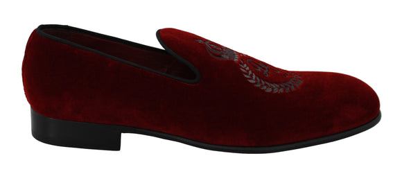 Bordeaux Velvet Crown Royal Loafers Shoes
