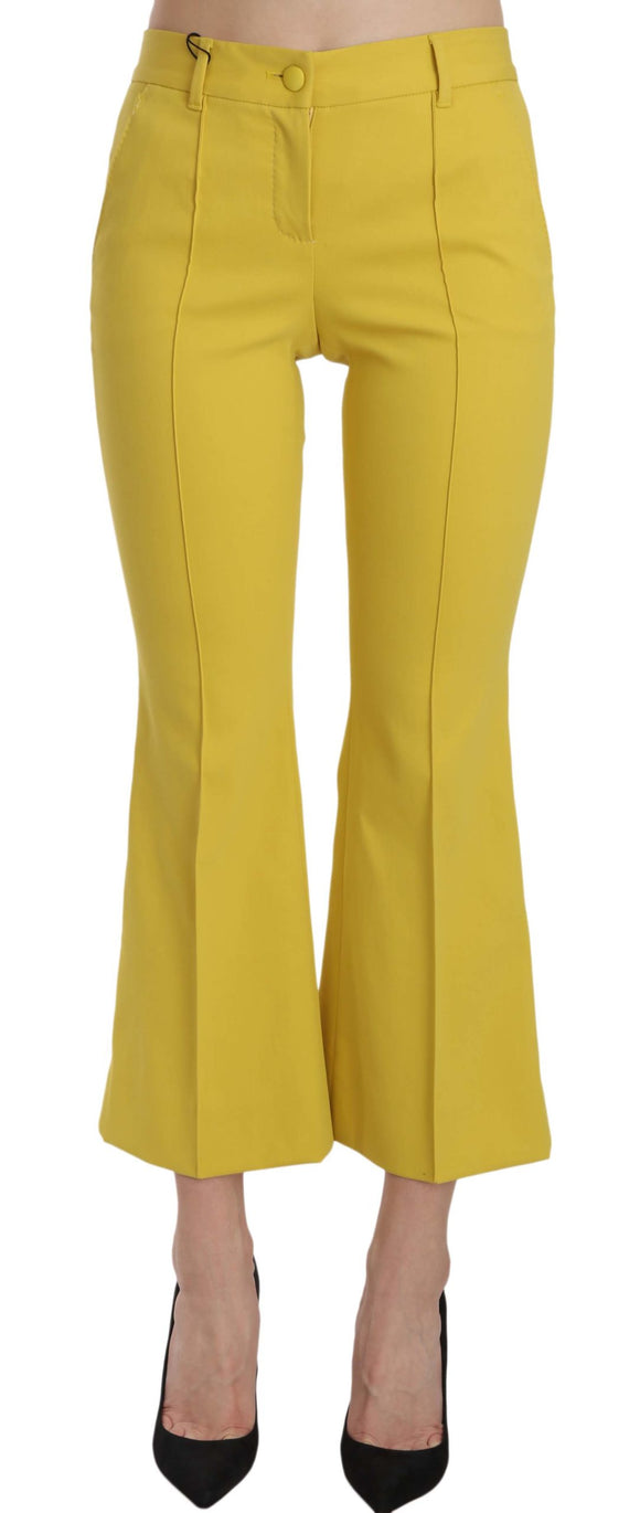 Yellow Flared Bootcut Capri Cotton Pants